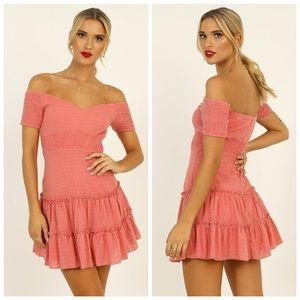 Showpo Coral Positano Bound Shirred Mini Dress 6